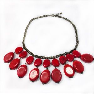 Red Tagua Nut Bead Necklace 16 to 17.5 Inches